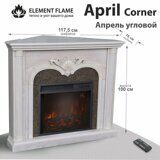 Каминокомплект Element Flame April Corner 23 WT угловой